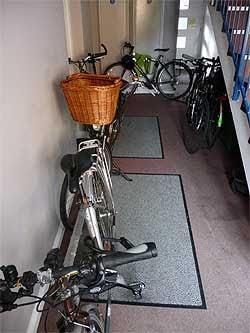 Bikes in a communal hallway