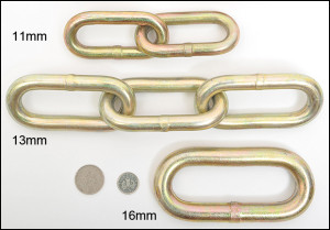 Different sized bike lock chains