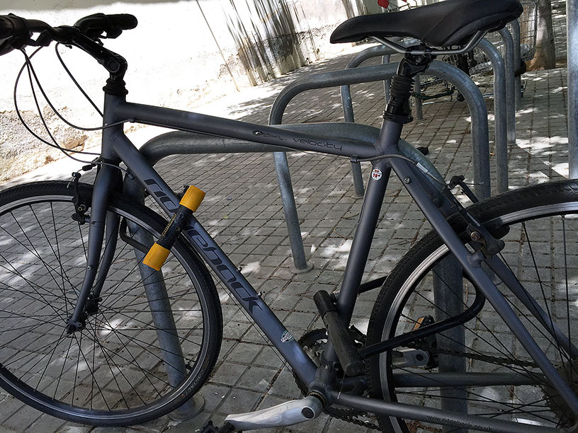 A bike locked with two U-locks
