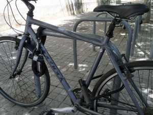 Bike locked with chain and U-lock