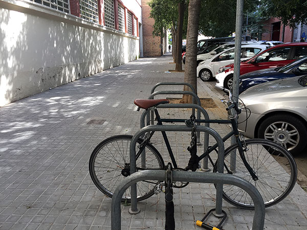 My bike locked up in the street