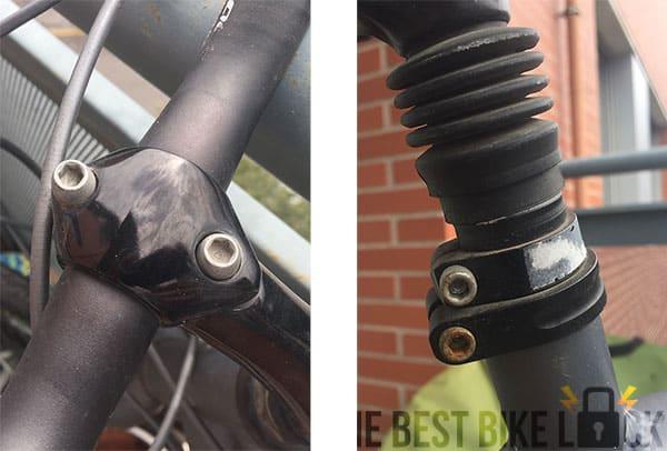 Hex screws in handlebar headset and seatpost