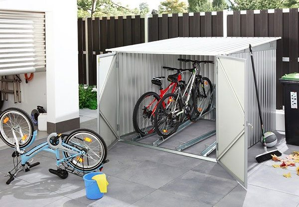 A bike shed with forward access