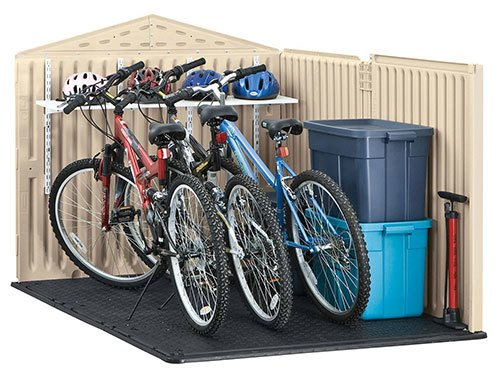 Rubbermaid Slide-Lid easily stores 3 bikes straight on