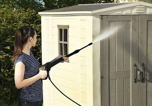 Washing a plastic shed