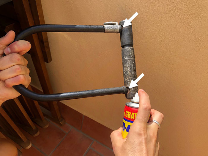 Spray WD-40 into the joints of the lock body