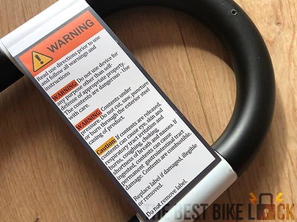 Warning label on SkunkLock