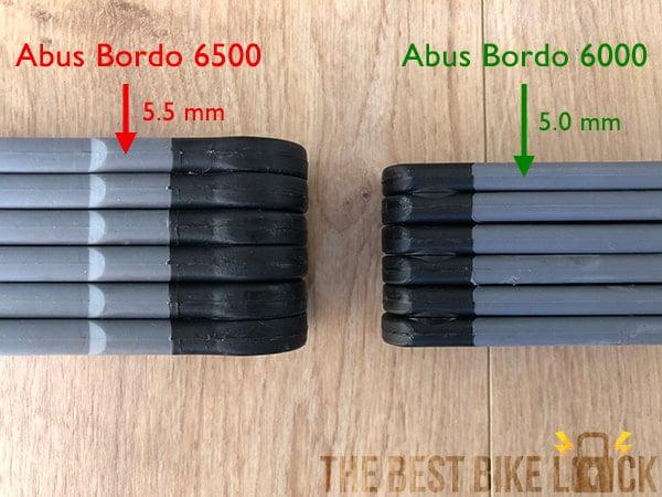 Abus Bordo 6500 vs 600 (bar thickness)