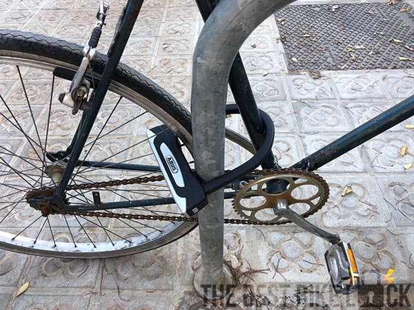 Lightweight Abus Granit X-Plus 54 Mini in use on bike