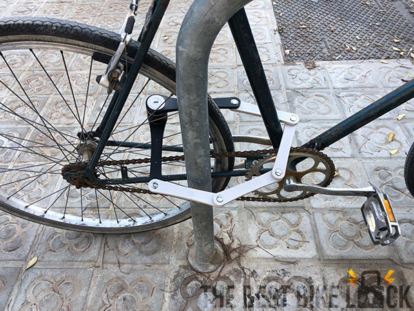 Lightweight Foldylock Compact in use on bike