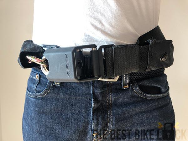 Hiplok Gold as belt from front