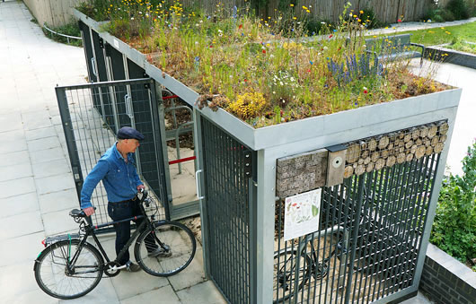 A commercial Green Roof  Cycle Shelter