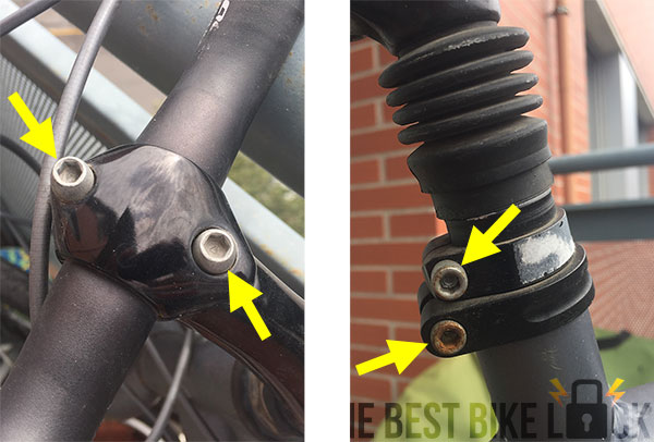 Bike components attached with hex bolts