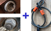 Hex bolt or Standard nut plus cable